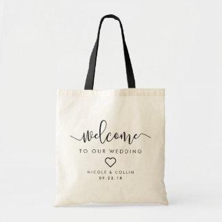 Boa vinda moderna do casamento da caligrafia bolsa tote