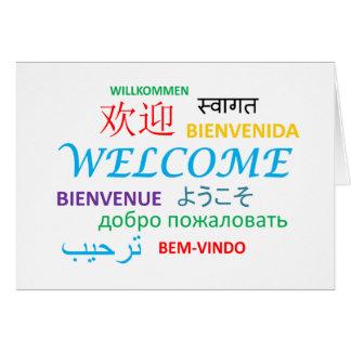 Boa vinda múltipla da língua cartão comemorativo