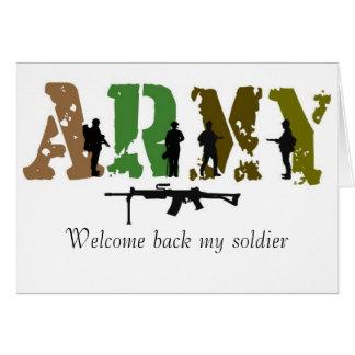 Boa vinda para trás meu soldado cartões