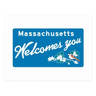 Boa vinda sinal de estrada de Massachusetts - EUA Cartão Postal