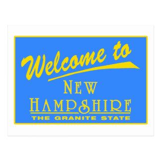 Boa vinda sinal de estrada de New Hampshire - EUA Cartão Postal