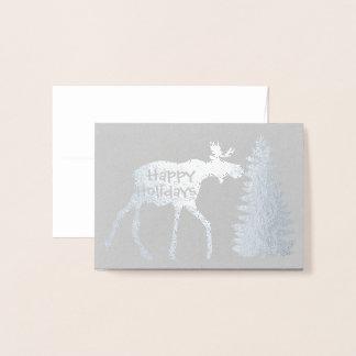 Boas festas alces e árvore cartão metalizado