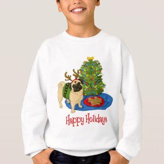 Boas festas as camisetas do Pug e suam