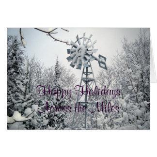 Boas festas através das milhas cartão comemorativo