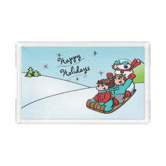 Boas festas bandeja do boneco de neve