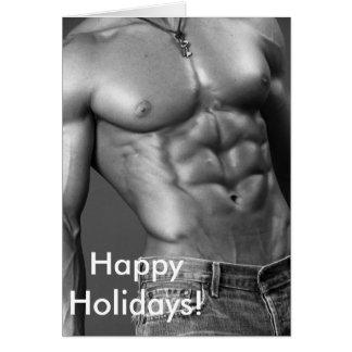 Boas festas - Bodybuilder masculino nos jeans Cartão Comemorativo