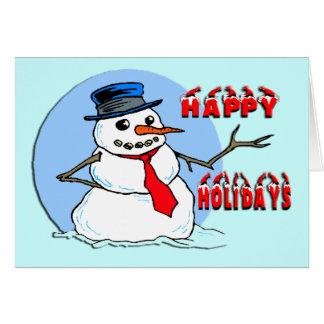 Boas festas boneco de neve cartão comemorativo