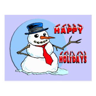 Boas festas boneco de neve cartão postal