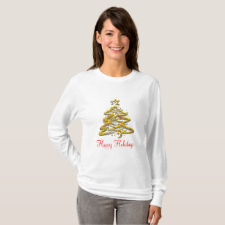 Boas festas branco customizável da camiseta
