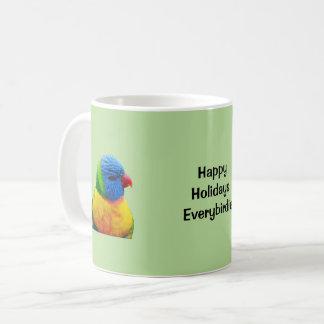 Boas festas caneca de café do papagaio