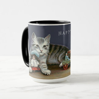 Boas festas caneca de prata doce do gatinho do