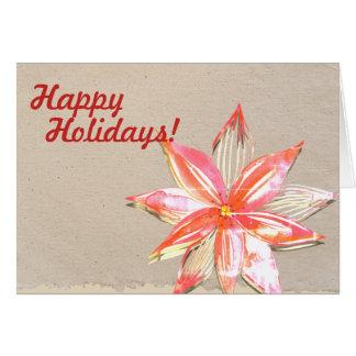 Boas festas cartão com design da poinsétia