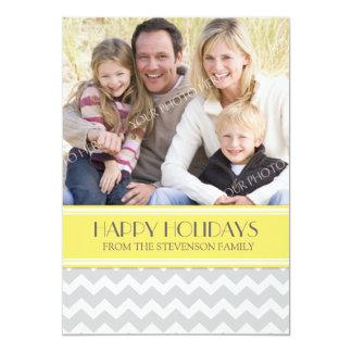 Boas festas cartão com fotos Chevron amarelo Convite 12.7 X 17.78cm