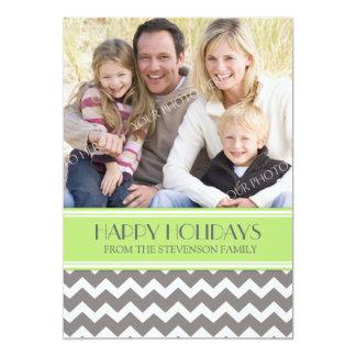 Boas festas cartão com fotos Chevron verde Convite 12.7 X 17.78cm
