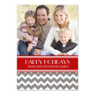 Boas festas cartão com fotos Chevron vermelho Convite 12.7 X 17.78cm