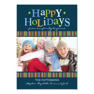 Boas festas cartão com fotos colorido & brilhante convites