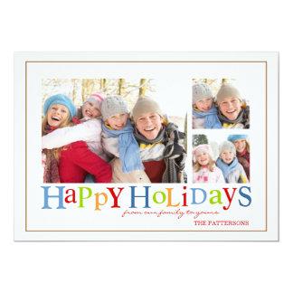 Boas festas cartão com fotos colorido de três convite 12.7 x 17.78cm