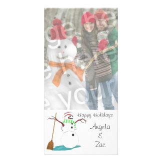Boas festas cartão com fotos customizável do bonec