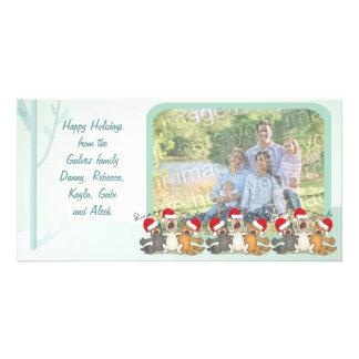 Boas festas cartão com fotos da cena do Natal