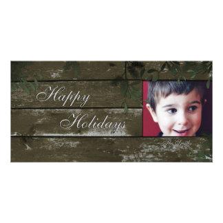 Boas festas cartão com fotos da família - azevinho