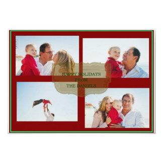 Boas festas cartão com fotos da família do Natal Convite