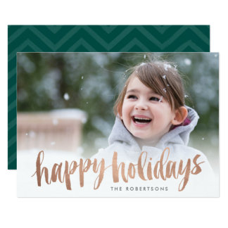 Boas festas cartão com fotos de cobre escovado