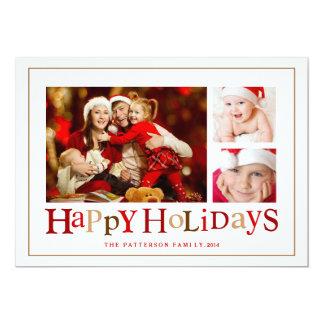Boas festas cartão com fotos festivo de três convite 12.7 x 17.78cm
