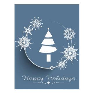 Boas festas cartão da árvore de Natal Cartões Postais