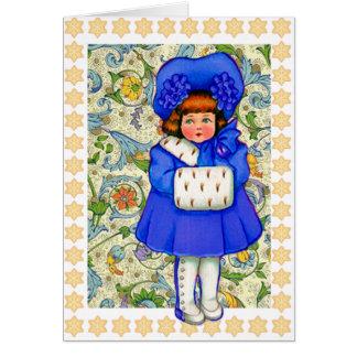 Boas festas cartão da menina do inverno do vintage