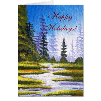 Boas festas cartão da pintura da floresta do pinho