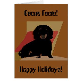 Boas festas cartão de Natal bilíngüe do Dachshund
