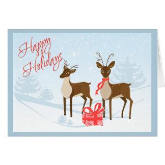 Boas festas cartão de Natal com cervos e presente