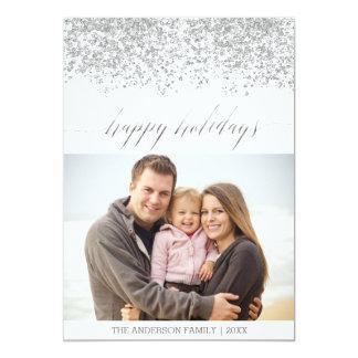Boas festas cartão de Natal de prata do brilho Convite 12.7 X 17.78cm