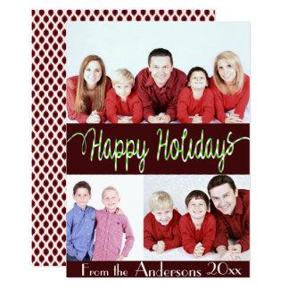 Boas festas cartão de Natal de Quatrefoil de 3 Convite 12.7 X 17.78cm