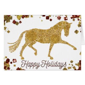 Boas festas cartão do cavalo do adestramento do