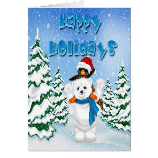 Boas festas cartão do pinguim do urso polar