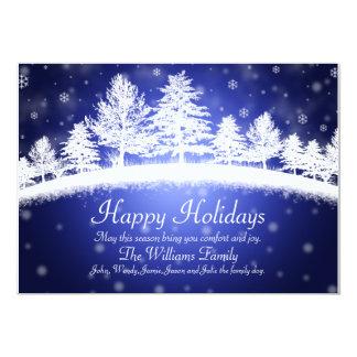 Boas festas cartão liso da cena azul do inverno convite 12.7 x 17.78cm