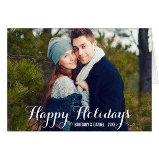 Boas festas cartão W da dobra da foto do casal