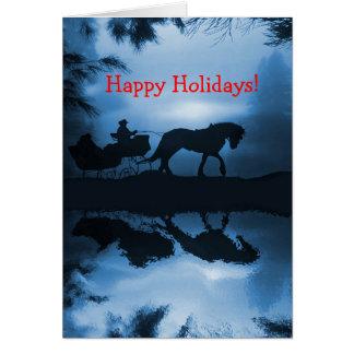 Boas festas cavalo e trenó na neve cartoes