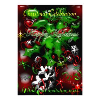 Boas festas celebração Invitat da festa de Natal Convite Personalizados