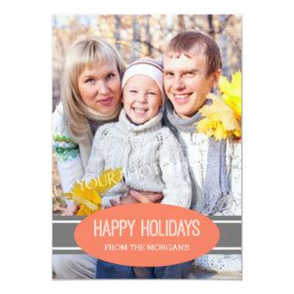Boas festas cinza coral dos cartões de foto de convite personalizado