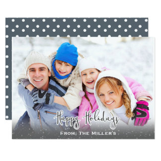 Boas festas cinzas simples da neve do cartão com convite 12.7 x 17.78cm