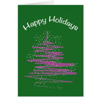 Boas festas com costume da árvore cartão comemorativo