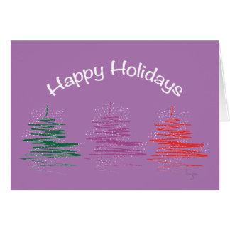 Boas festas, contemporâneo, roxo moderno cartão comemorativo