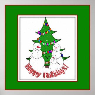 Boas festas da família do boneco de neve posteres