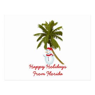 Boas festas de Florida, boneco de neve, palmeira Cartão Postal