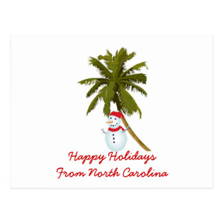 Boas festas de N. Carolina, palma do boneco de nev Cartoes Postais