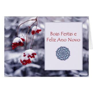 Boas Festas e Feliz Ano Novo, Natal português Cartão Comemorativo