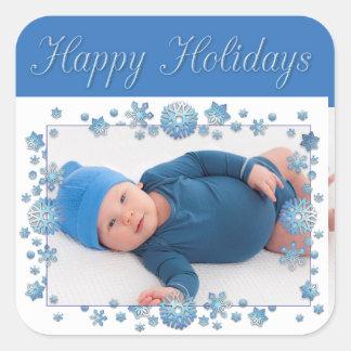 Boas festas etiqueta azul do floco de neve da foto adesivo quadrado