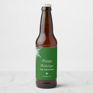 Boas festas etiqueta da cerveja do floco de neve -